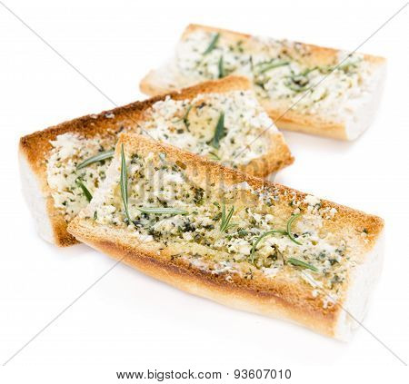 Herb Butter Baguette Over White