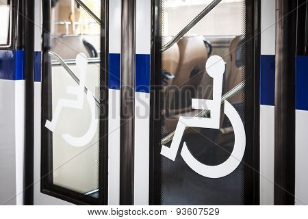Handicap Sign On Bus Door Entrance