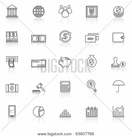 Banking Line Icons With Reflect On White
