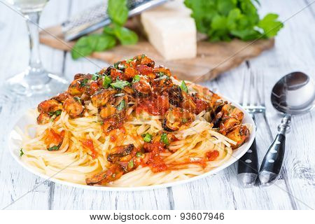 Portion Of Spaghetti With Mussels