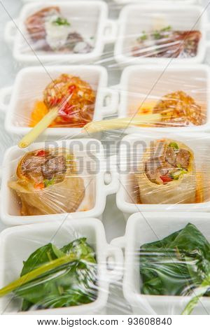 Canape ; Decoration And Foods That Are Wrapped With Plastic Wrap Prepared For The Wedding