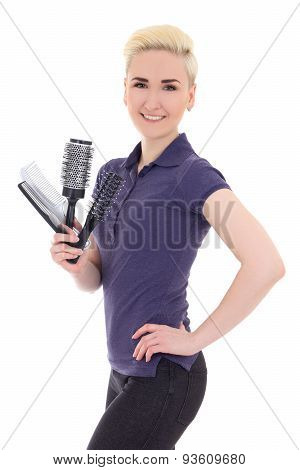 Young Beautiful Woman Hair Stylist Isolated On White