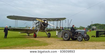 Gloster Gladiator being towed to hanger