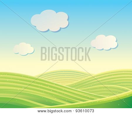 Vector landscape with fields and hills. Can be used as a background.