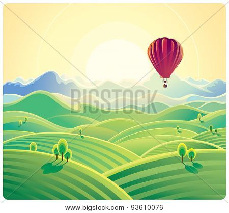 Mountain summer landscape and balloon. Vector illustration.
