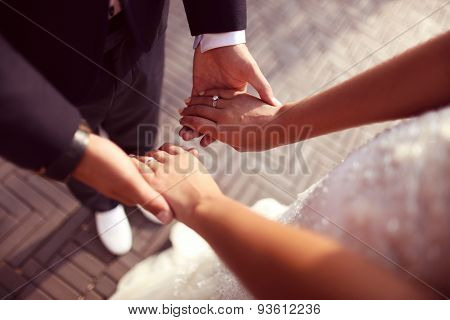 Hands Of A Bride And Groom Holding