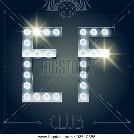 Futuristic vector lamp alphabet on glossy mirror background. Letters E F