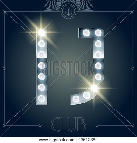 Futuristic vector lamp alphabet on glossy mirror background. Letters I J