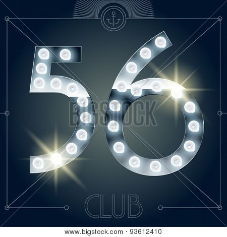Futuristic vector lamp alphabet on glossy mirror background. Numbers 5 6