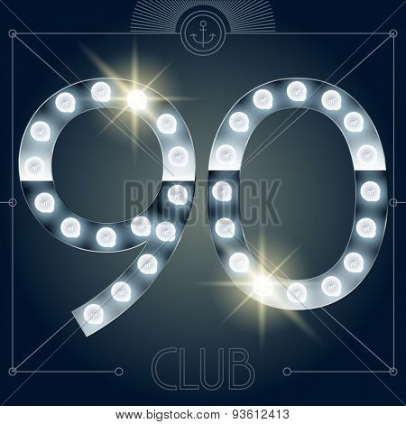 Futuristic vector lamp alphabet on glossy mirror background. Numbers 9 0