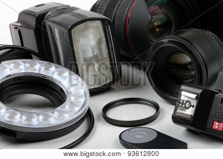 Photo Lenses And Equipment On White Background