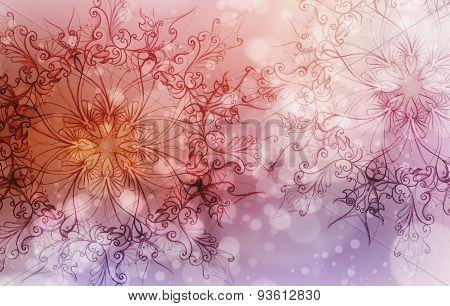 Flower Mandala On A Pink And Violet Abstract  Background And Circle Bokeh