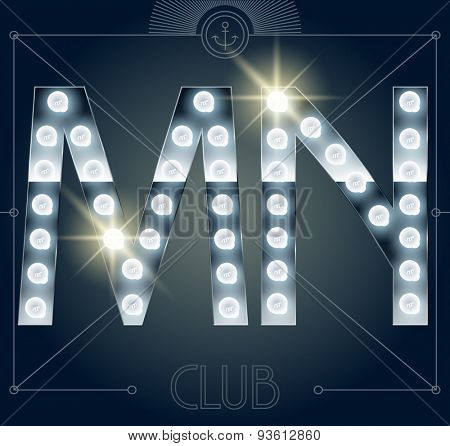 Futuristic vector lamp alphabet on glossy mirror background. Letters M N