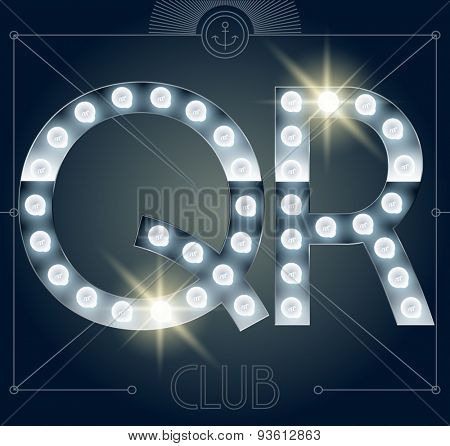 Futuristic vector lamp alphabet on glossy mirror background. Letters Q R