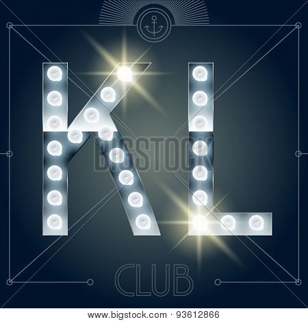 Futuristic vector lamp alphabet on glossy mirror background. Letters K L