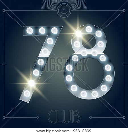 Futuristic vector lamp alphabet on glossy mirror background. Numbers 7 8