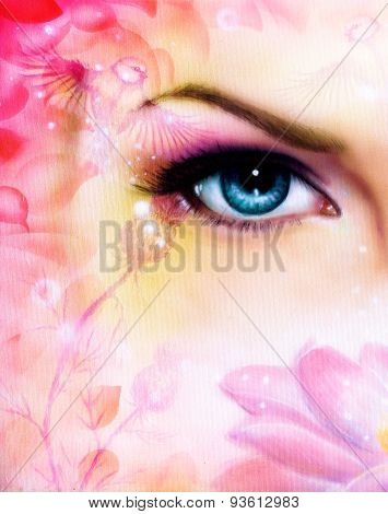 Blue Women Eye Beaming Up Enchanting From Behind A Blooming Rose Lotus Flower, With Bird On Pink Abs