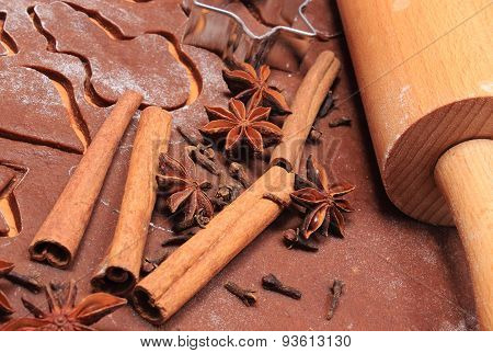 Spice And Accessories For Baking On Dough For Gingerbread