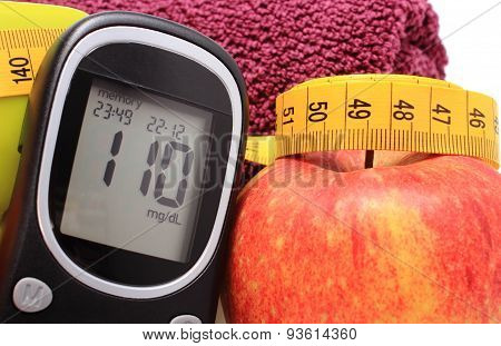 Glucose Meter, Fresh Apple And Tape Measure