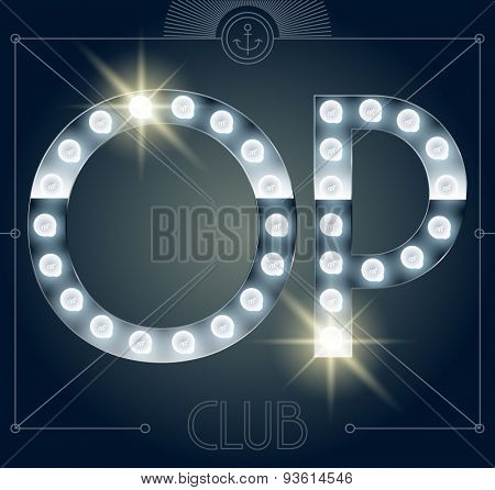Futuristic vector lamp alphabet on glossy mirror background. Letters O P