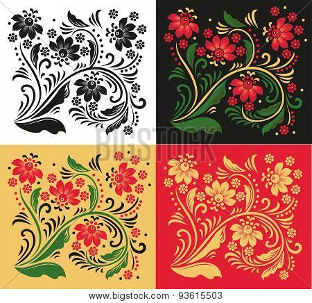 Floral Ornament In Folk Style