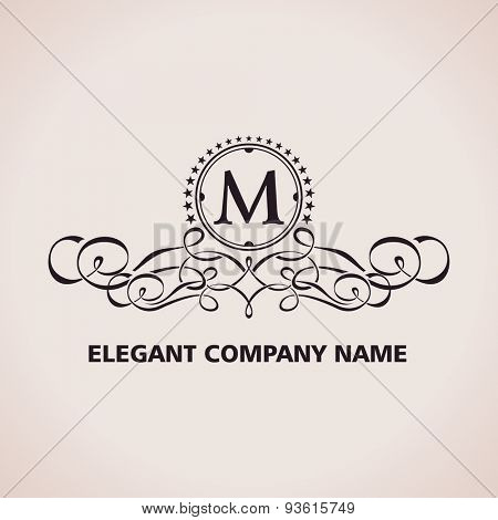Vector Luxury logo. Calligraphic pattern element. Vintage ornament