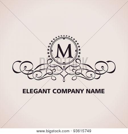 Vector Luxury logo. Calligraphic pattern element. Vintage ornament