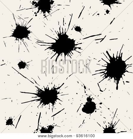 Vector seamless pattern. Abstract grunge background with black blots. Monochrome hand drawn texture. Modern graphic design