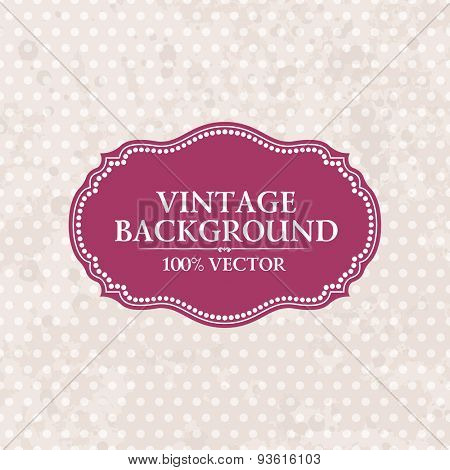 Frame on vintage background. Pink wallpaper with retro spots Grunge