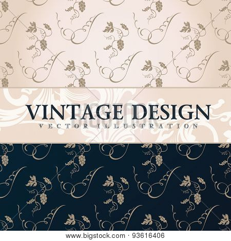 Vector vintage wallpaper. Gift wrap. Floral background with ornaments decorations branches curves