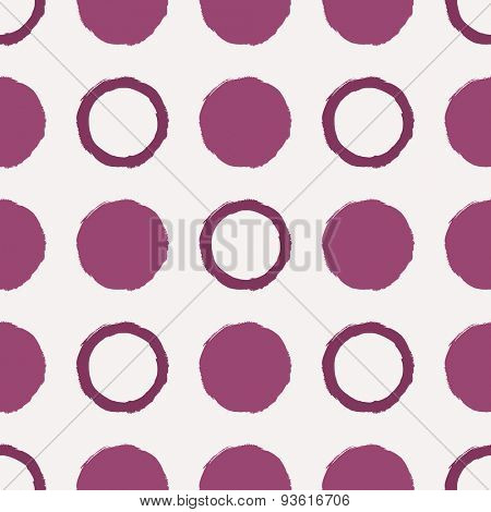 Vector seamless pattern. Abstract background with round brush strokes. Simple hand drawn texture with purple circles