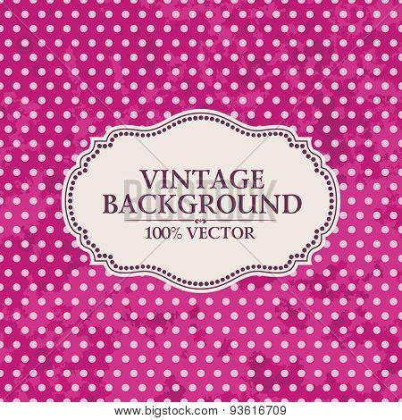 Frame on vintage background. Pink wallpaper with pink spots Grunge
