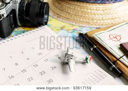 Diary And Calendar With Passport