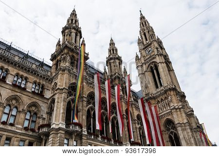 Vienna Town Hall With Gay Pride Flag