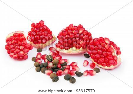Sliced Pomegranate With Coffee Grains And Pomegranate Grains