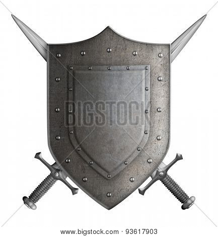 medieval coat of arms knight shield and two swords isolated