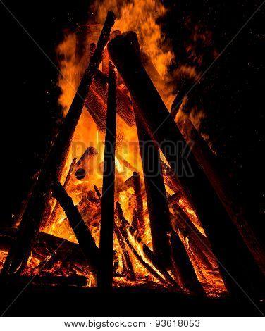 Big Bonfire Against Dark Night Sky