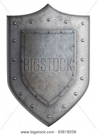 coat of arms metal knight shield isolated with clipping path included