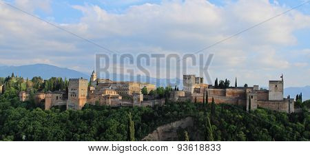View of Alhambra palace at sunset Granada Spain