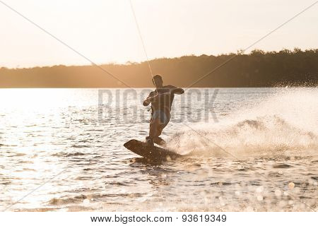 Silhouette of Wakeboarder, Wakeboarding Male