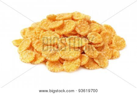 Heap of corn flakes isolated on white