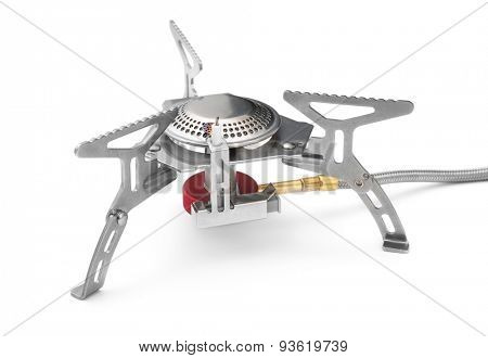 Camping gas stove isolated on white