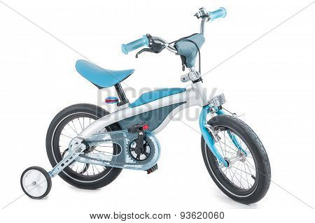 Blue Children's Tricycle On A White Background