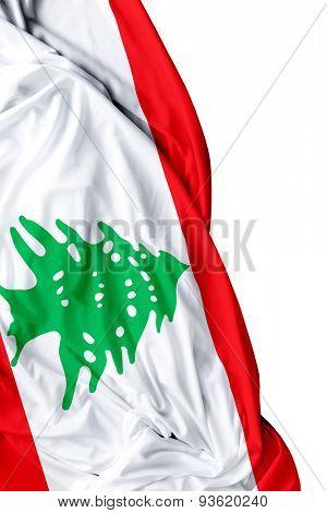 Lebanese waving flag on a white day