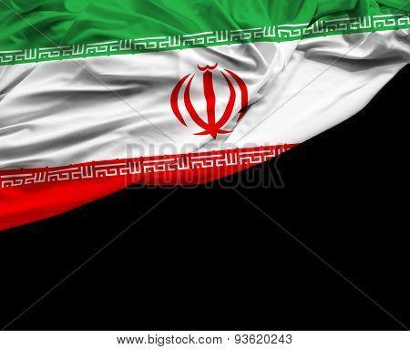 Iranian waving flag on black background