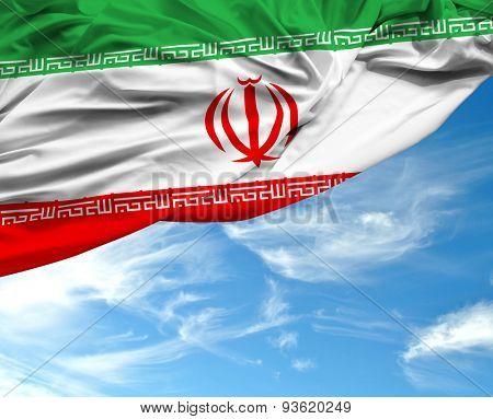 Iranian waving flag on a beautiful day