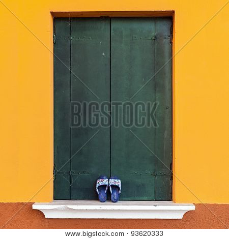 Colorful Window In Venetian Island Of Burano