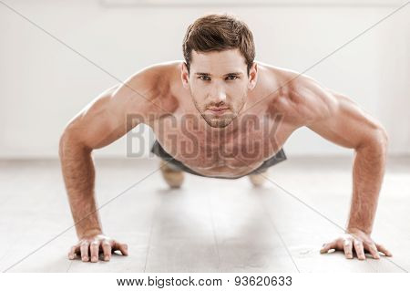 Confident Man Doing Push-ups.