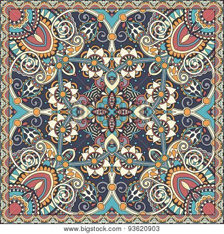 silk neck scarf or kerchief square pattern design in ukrainian s