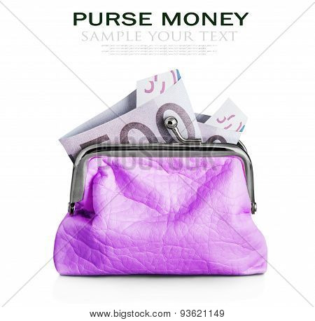 Purse With Hundred Euro Banknote Isolated